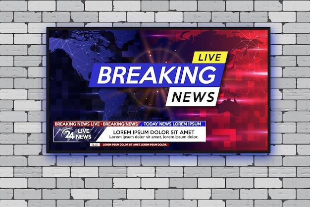 Breaking news. realistic tv screen. modern led tv on gray brick wall. Premium Vector