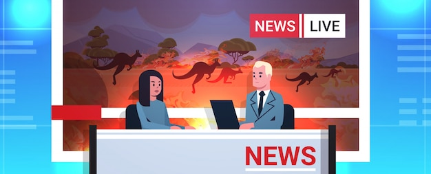 Breaking news reporters live brodcasting kangaroo running from forest fires in australia bush fire global warming natural disaster concept tv studio interior portrait horizontal Premium Vector