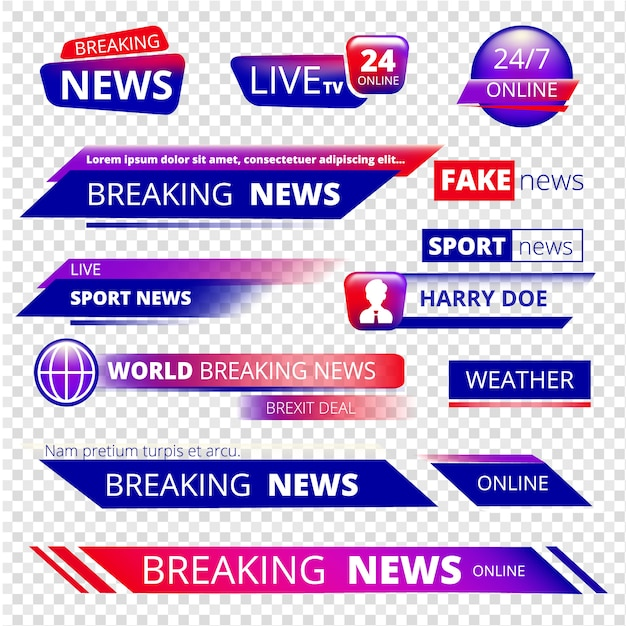 Breaking news. television channel broadcasting service Premium Vector