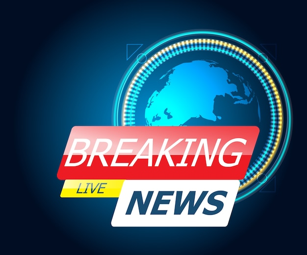 Breaking news with world map Premium Vector