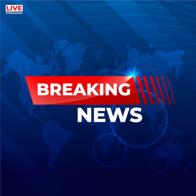 Breaking news over world map background Free Vector