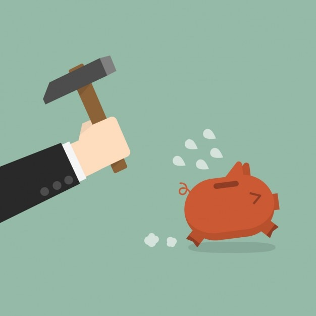 Breaking the piggybank Free Vector