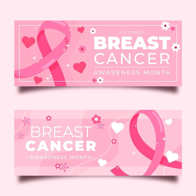 Breast cancer awareness banners Free Vector