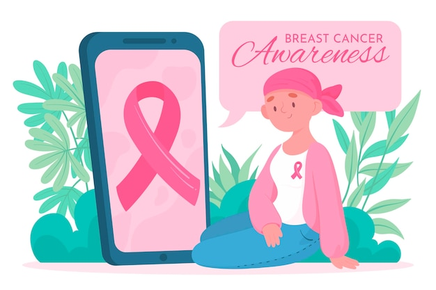 Breast cancer awareness celebration Premium Vector