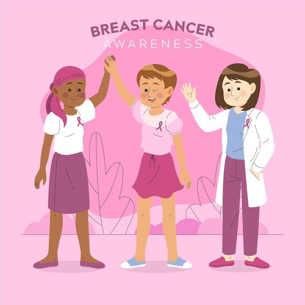 乳がん啓発の概念図 無料ベクター
