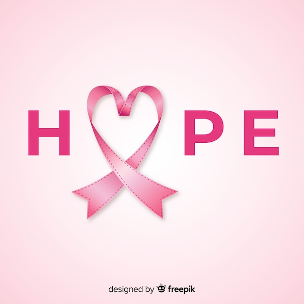 Breast cancer awareness event with realistic ribbon Free Vector