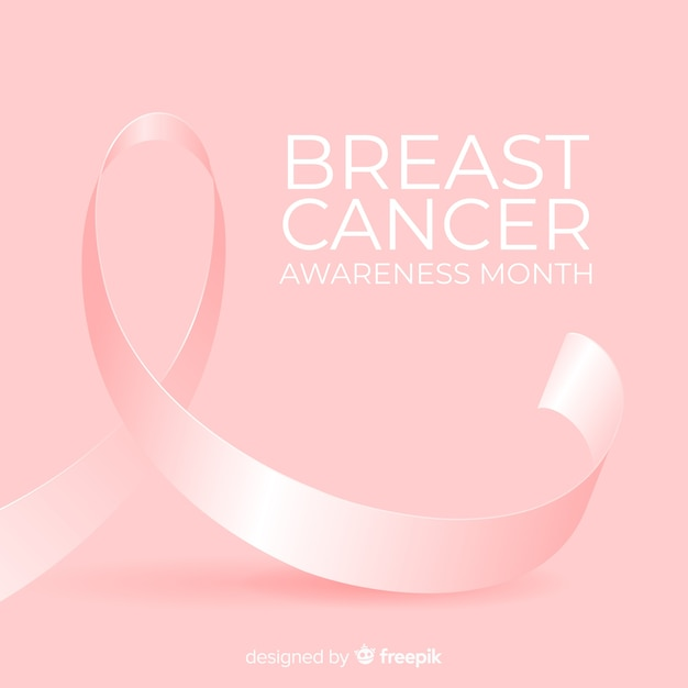 Breast cancer awareness month background with pink ribbon Free Vector