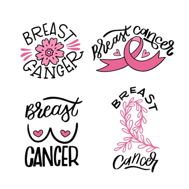 Breast cancer awareness month badges collection Premium Vector