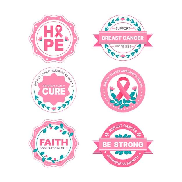Breast cancer awareness month badges design Premium Vector