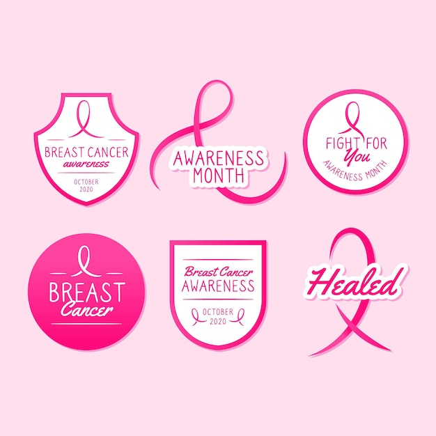 Breast cancer awareness month badges Premium Vector