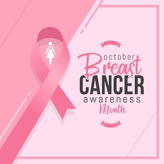 Месяц осведомленности о раке груди с розовой лентой Premium векторы