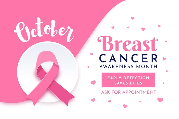 Breast cancer awareness month banner style Premium Vector