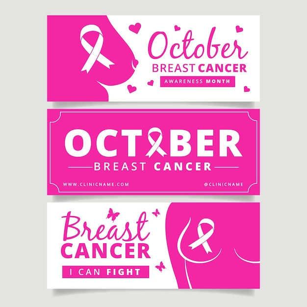 Breast cancer awareness month banner template Free Vector