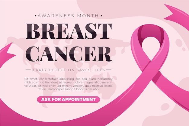 Breast cancer awareness month banner template Premium Vector
