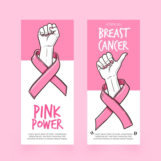 Modello di banner mese di consapevolezza del cancro al seno Vettore gratuito