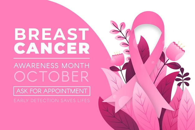 Breast cancer awareness month banner with leaves Premium Vector