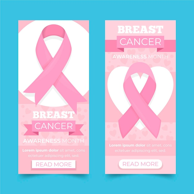 Breast cancer awareness month banner Premium Vector