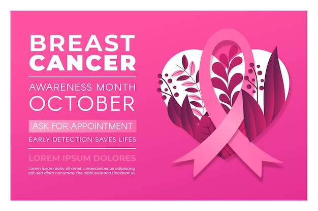 Breast cancer awareness month banner Free Vector