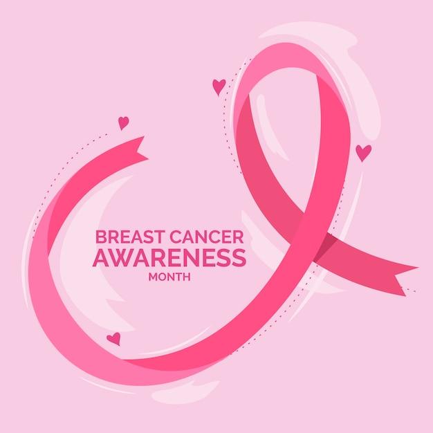 乳がん啓発月間お祝い 無料ベクター
