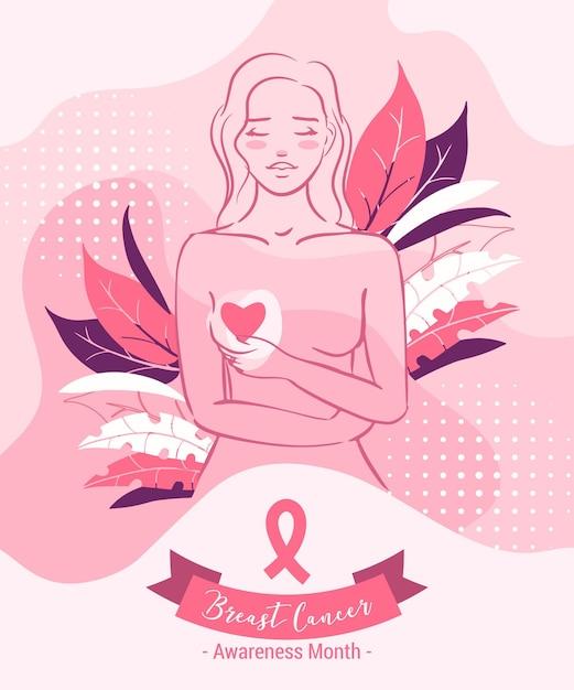 乳がん啓発月間コンセプト Premiumベクター