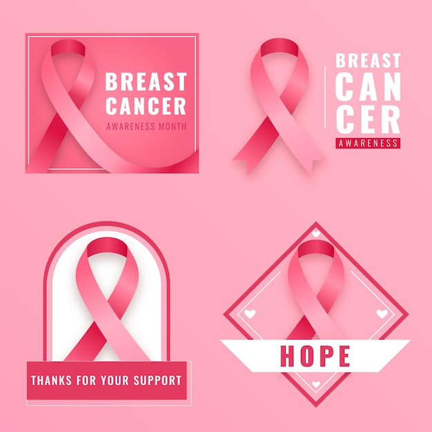 Breast cancer awareness month labels collection Premium Vector