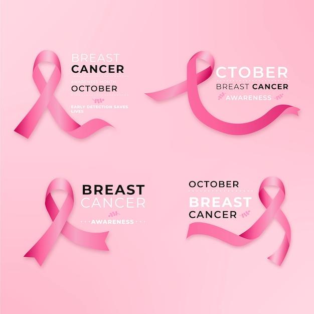 Breast cancer awareness month labels design Premium Vector