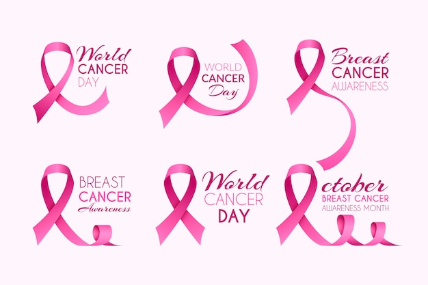 Breast cancer awareness month labels pack Premium Vector