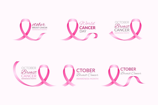 Breast cancer awareness month labels set Premium Vector