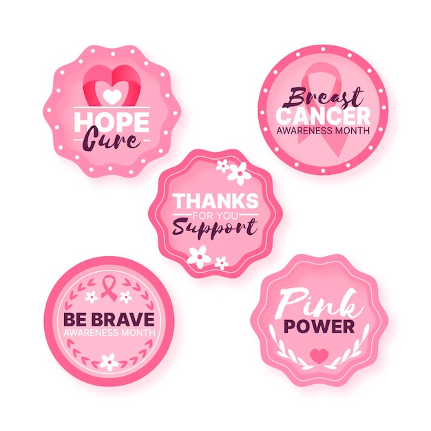 Breast cancer awareness month labels style Premium Vector