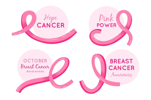 Breast cancer awareness month labels Free Vector