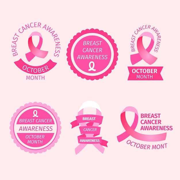 Breast cancer awareness month labels Premium Vector
