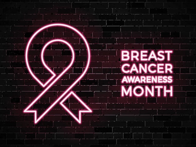 Breast cancer awareness month neon signs on dark brick wall Premium Vector