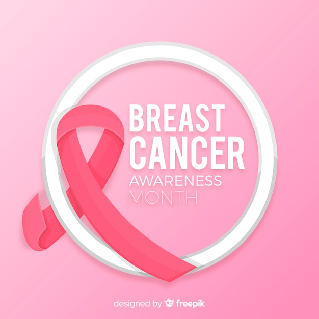 Breast cancer awareness month pink background Free Vector