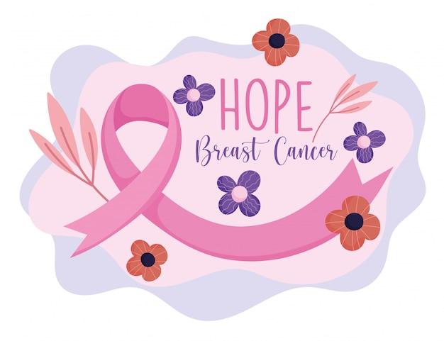 Месяц осведомленности рака груди розовая лента цветы ветви векторный дизайн и иллюстрация Premium векторы