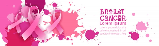 Breast cancer awareness month pink ribbon symbol Premium Vector