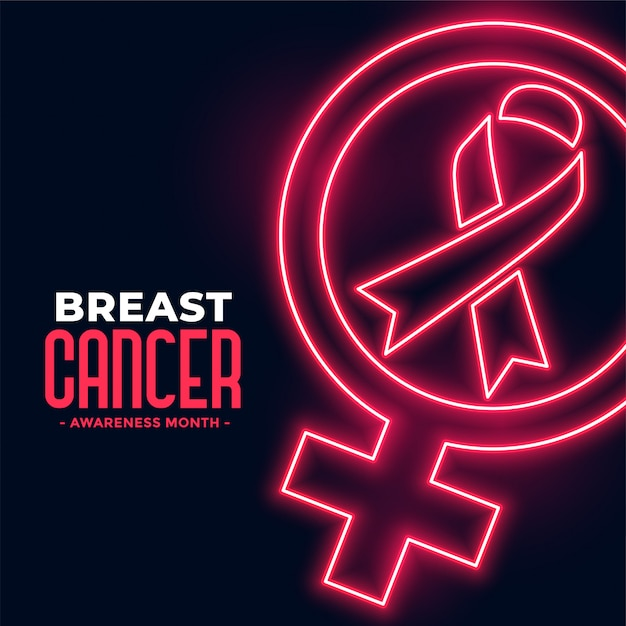 Breast cancer awareness month poster in neon style Free Vector