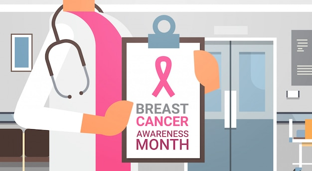 Breast cancer awareness month poster with female doctor in hospital disease prevention banner Premium Vector