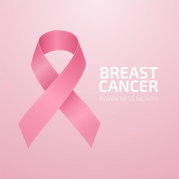 Месяц осведомленности о раке груди с реалистичной иллюстрацией розовой ленты Premium векторы