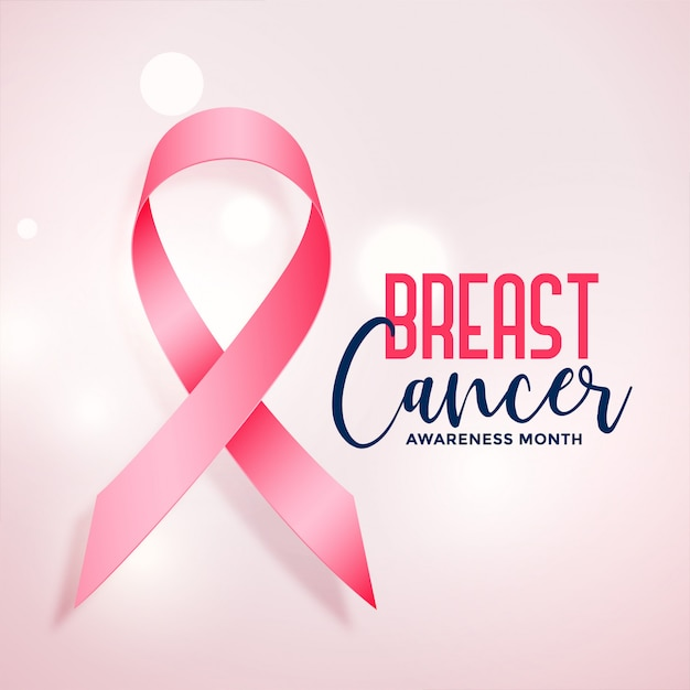 Breast cancer awareness month with realistic pink ribbon poster Free Vector