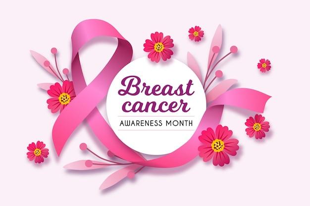 Месяц осведомленности о раке груди с реалистичной розовой лентой Бесплатные векторы