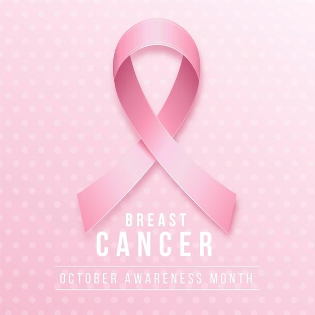リアルなピンクのリボンで乳がん啓発月間 無料ベクター