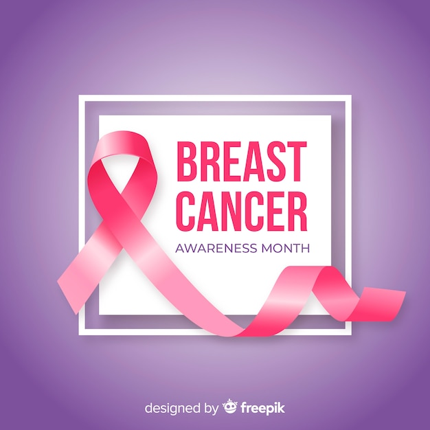 Breast cancer awareness month with realistic ribbon Free Vector