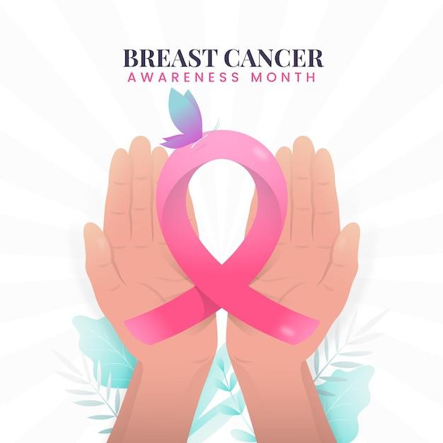 Месяц осведомленности о раке груди с лентой Premium векторы