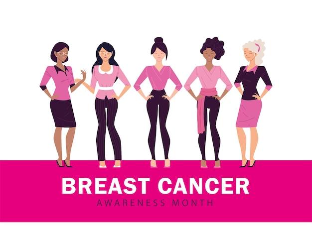 Месяц осведомленности о раке груди с женским дизайном Premium векторы