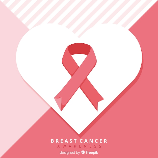Breast cancer awareness ribbon in flat design Free Vector
