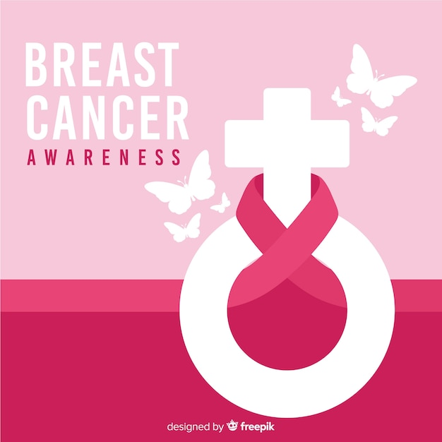 Breast cancer awareness ribbon with gender symbol Free Vector