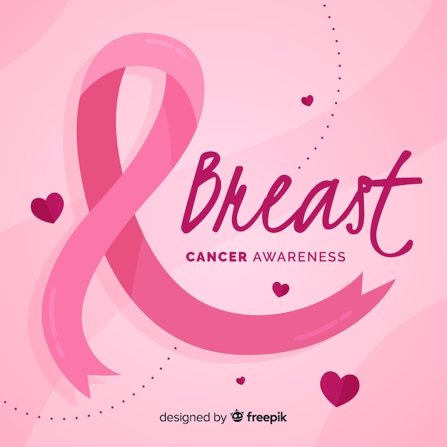 Breast cancer awareness with pink ribbon flat design Free Vector
