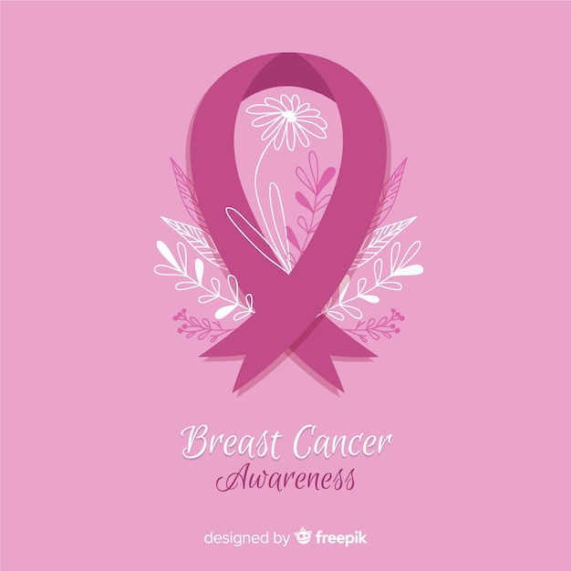 Breast cancer awareness with pink ribbon flat style Free Vector