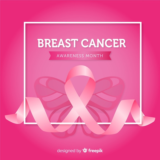 Breast cancer awareness with pink ribbons Free Vector