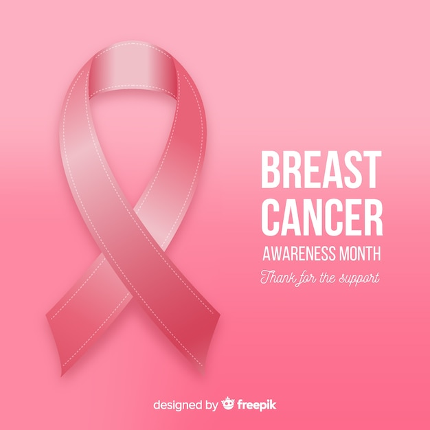 Breast cancer awareness with realistic designed ribbon Free Vector
